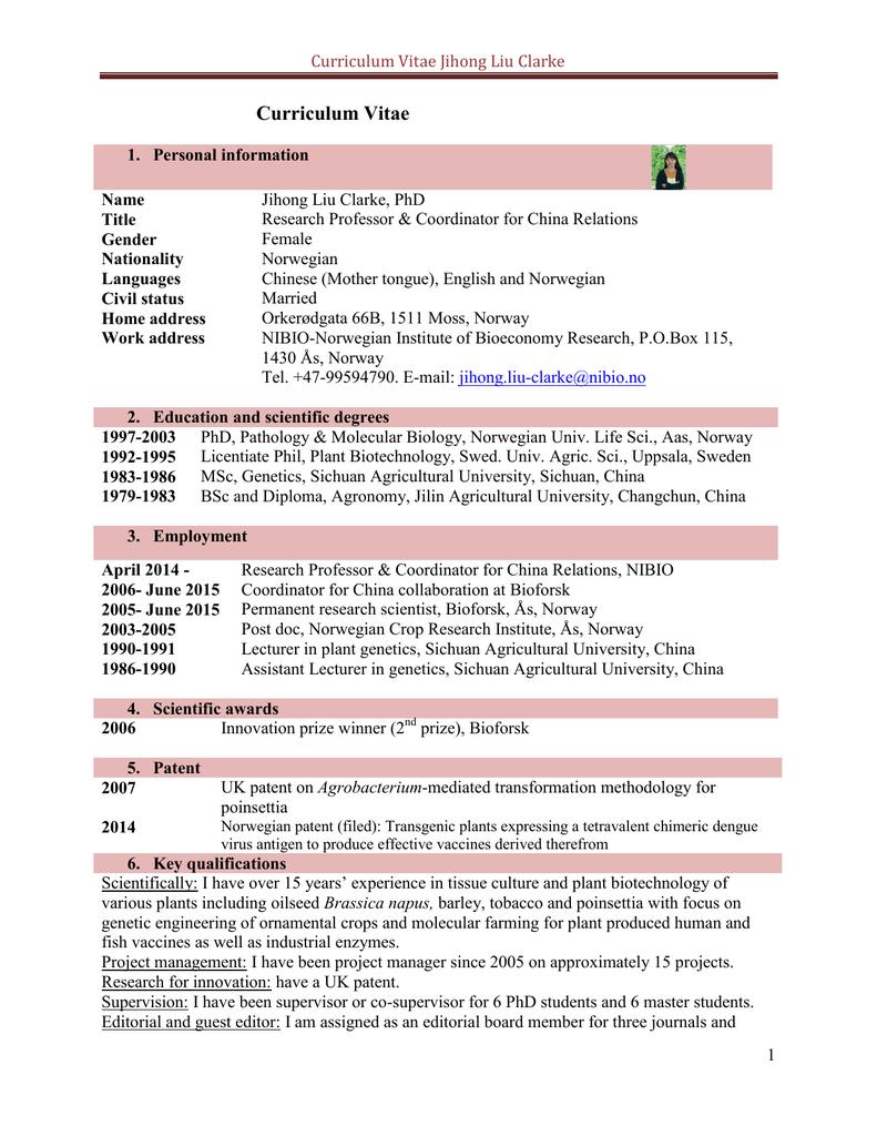 Curriculum Vitae Jihong Liu Clarke