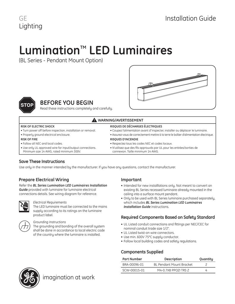 GE Lumination LED Fixtures BL Series Pendant Mount Option on
