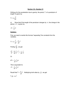 Section 3.9– Number 21 Writing g for the acceleration due to gravity