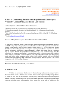 Effect of Conducting Salts in Ionic Liquid based Electrolytes