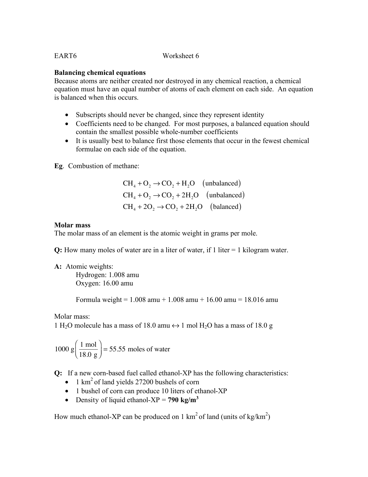 Worksheets 1000 Unbalanced Chemical Equation eart6 worksheet 6 balancing chemical equations because atoms