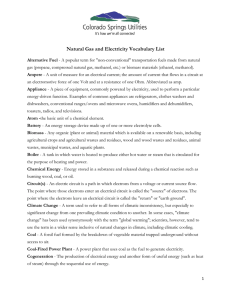Natural Gas and Electricity Vocabulary List