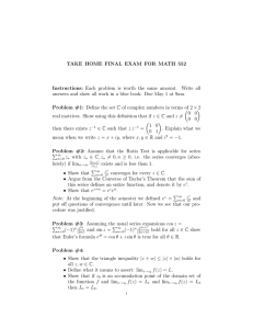 TAKE HOME FINAL EXAM FOR MATH 552 Instructions: Each