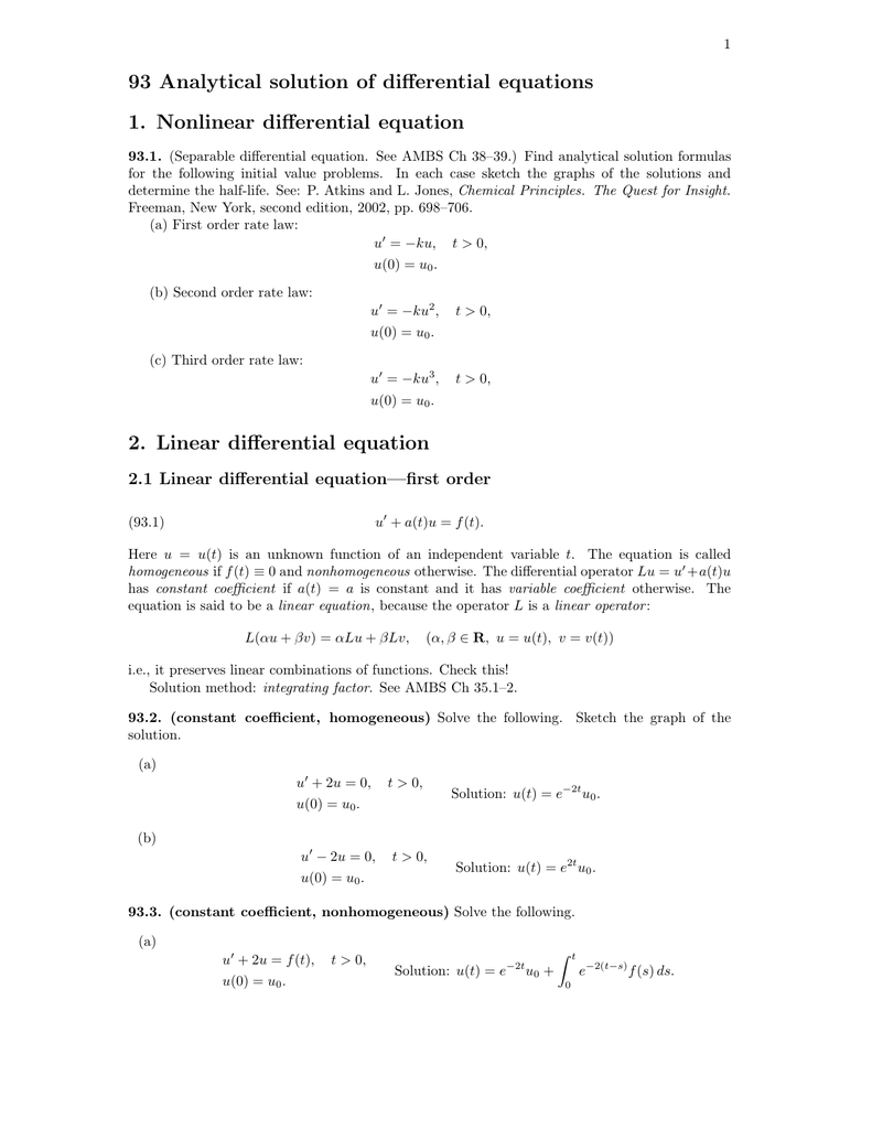 93  Analytical solution of differential equations