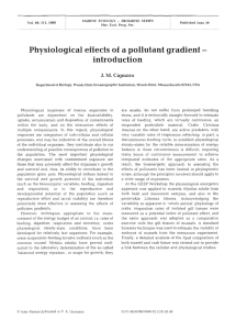 Physiological effects of a pollutant gradient