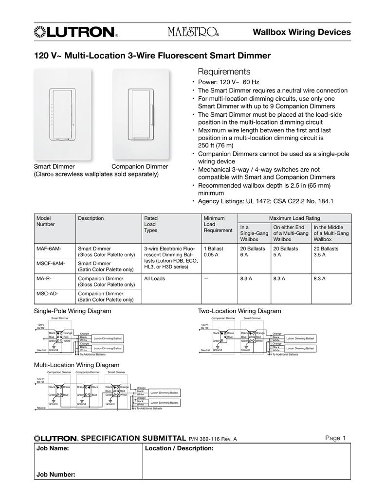 6am Maf Lutron Dimmer Wiring Diagrams Schematics Ma 600 Diagram 120 V Multi Location 3 Wire Fluorescent Smart Rh Studylib Net Maestro