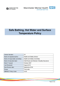 Safe Bathing, Hot Water and Surface Temperature Policy
