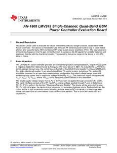 LMV243 Single-Channel, Quad-Band GSM Power Controller