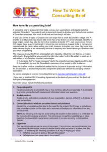 How To Write A Consulting Brief - Institute for Ethical Consulting