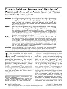 Personal, Social, and Environmental Correlates of Physical Activity