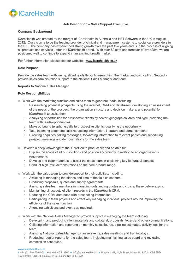 job description  u2013 sales support executive company