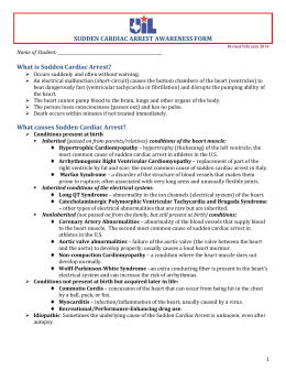 SUDDEN CARDIAC ARREST AWARENESS FORM What is Sudden