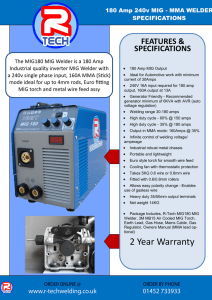 R-Tech MIG180 Inverter Mig Welder Specification Sheet