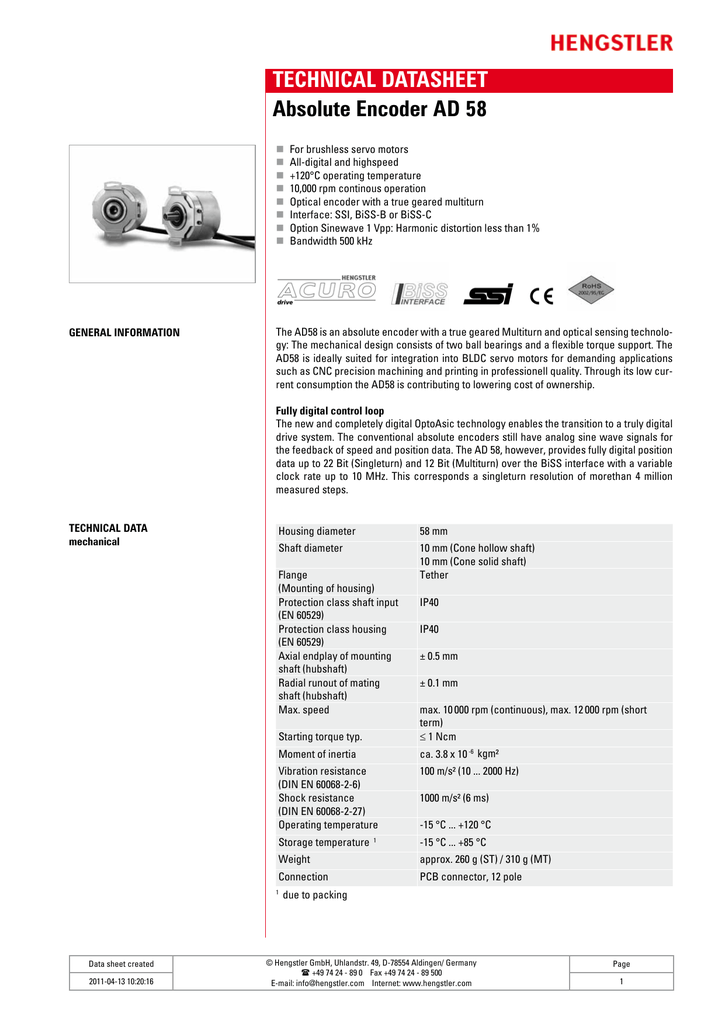 TECHNICAL DATASHEET Absolute Encoder AD 58