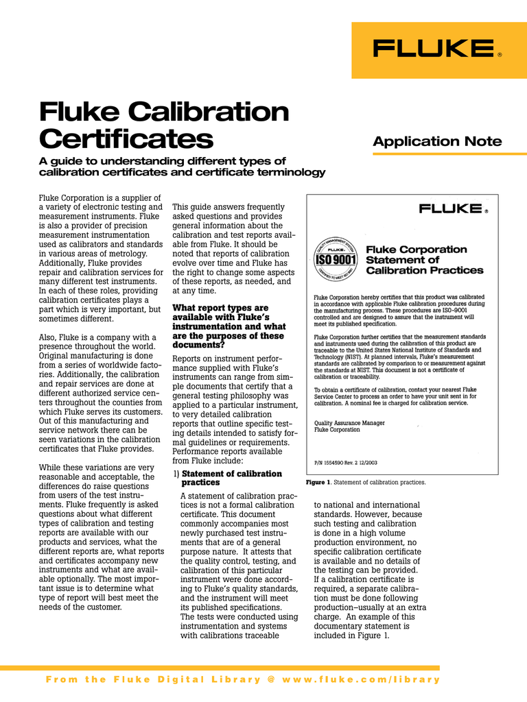 Fluke Calibration Certificates