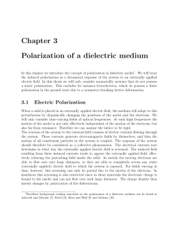 Chapter 3 Polarization of a dielectric medium