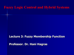 Lecture 2: Fuzzy Membership Functions and Fuzzy Numbers