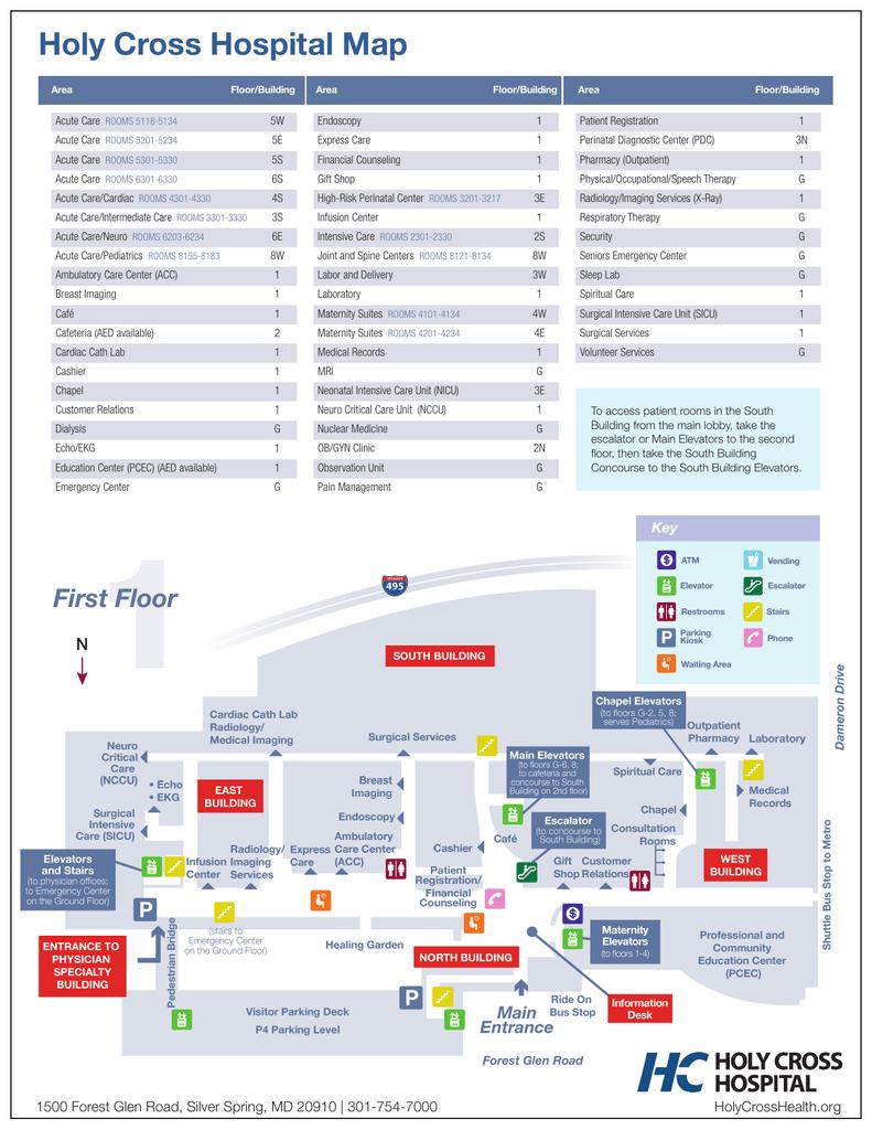 Endoscopy Room Floor Plan: Holy Cross Hospital Map