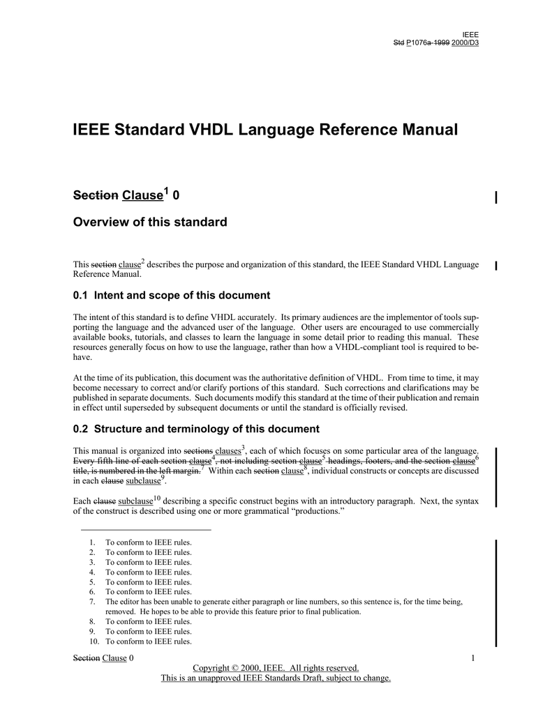 IEEE Standard VHDL Language Reference Manual