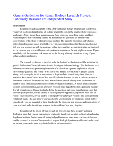 Guidelines for Laboratory Research and Independent Study Projects