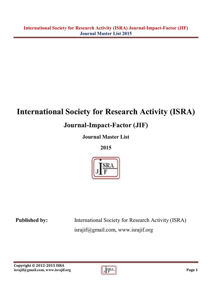 impact factor journal list