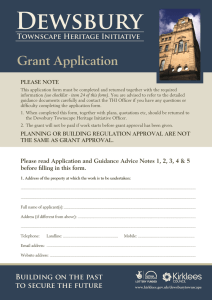Dewsbury THI – Grant Application Form