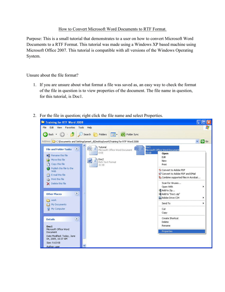 How to Convert Microsoft Word Documents to RTF Format