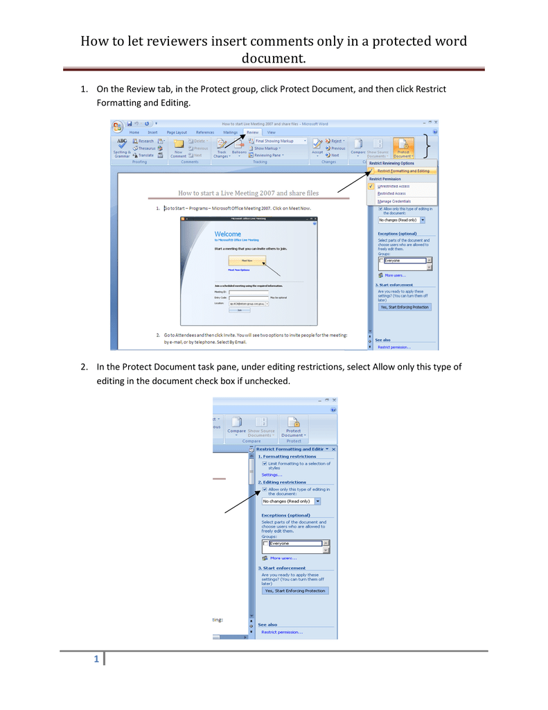 How to let reviewers insert comments only in a protected word
