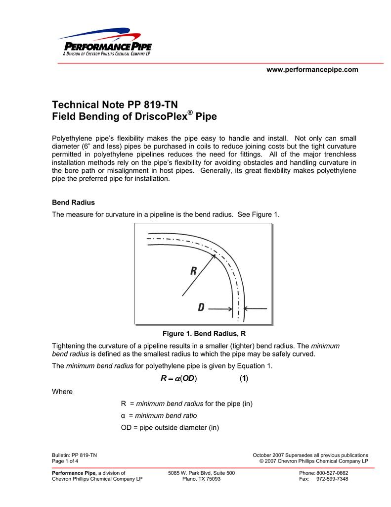 Field Bending HDPE Pipe
