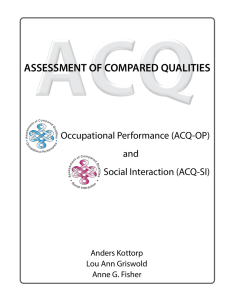 assessment of compared qualities - Center for Innovative OT Solutions