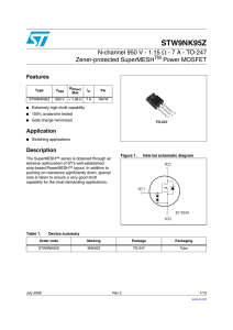 N-channel 950 V - 1.15 - 7 A - TO-247 Zener