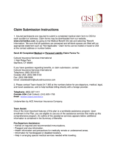 Claim Submission Instructions - Cultural Insurance Services