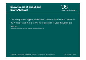Brown`s eight questions Draft Abstract