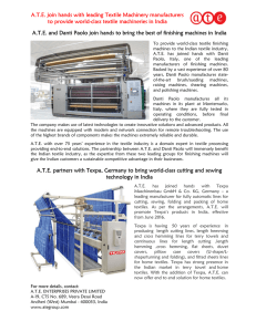 A.T.E. join hands with leading Textile Machinery manufacturers to