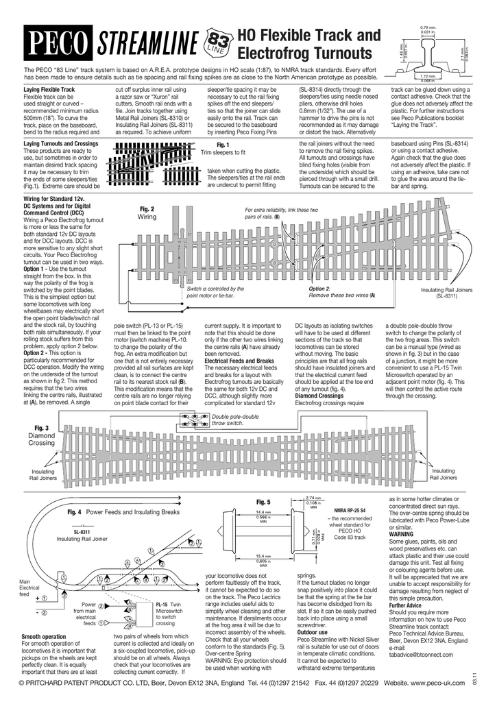 "the peco ""83 line"" track system is based on a r e a  prototype designs in ho  scale (1:87), to nmra track standards  every effort has been made to ensure"