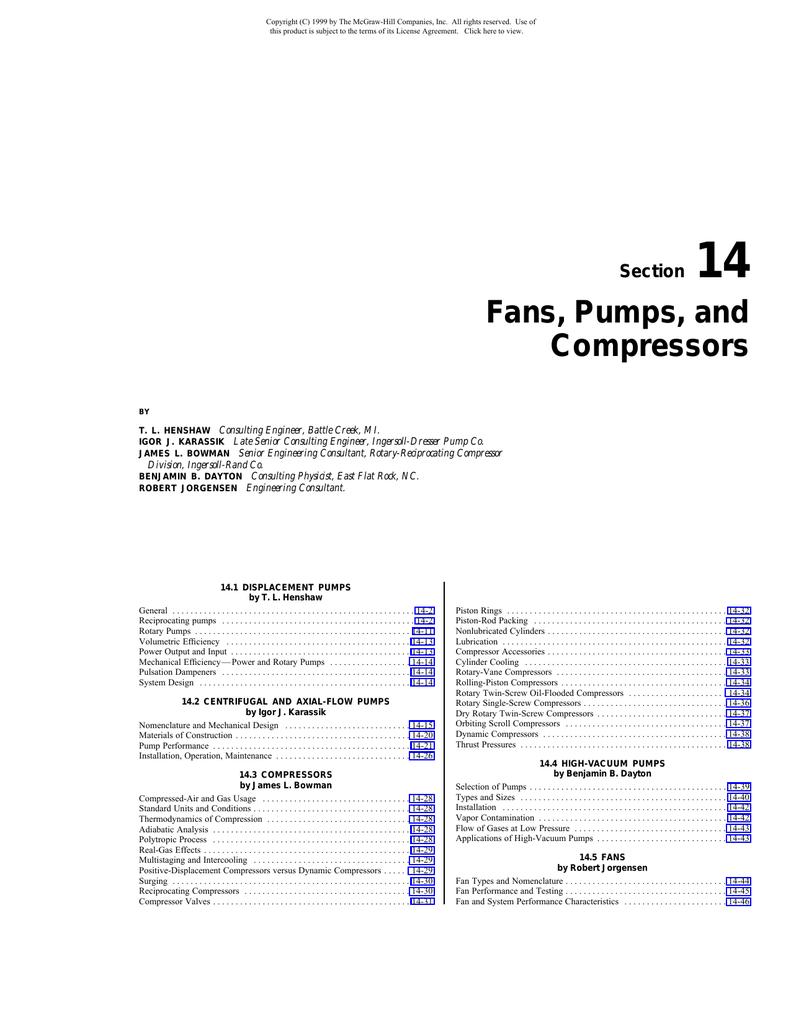 Fans, Pumps, and Compressors
