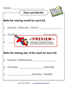 Days and Months - Super Teacher Worksheets