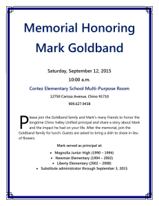 Memorial Honoring Mark Goldband - Chino Valley Unified School
