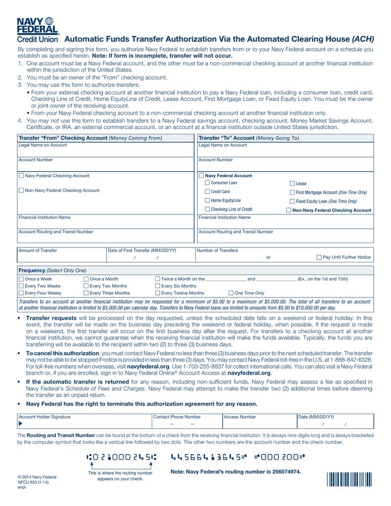 ach - navy federal credit union
