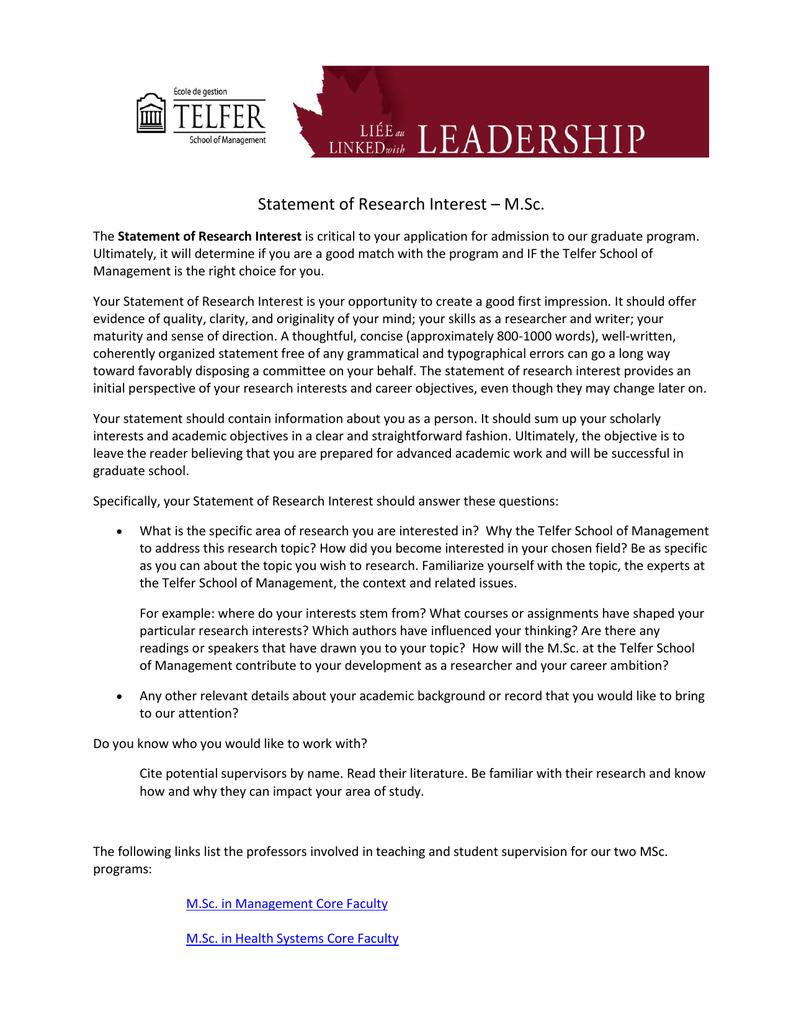 statement of research interest  msc