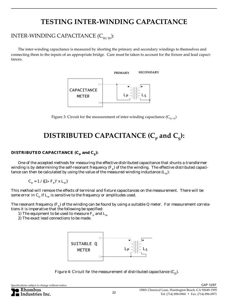 Testing Inter Winding Capacitance Rhombus Meter Circuit