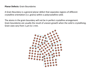 Planar Defects: Grain Boundaries A Grain Boundary is a general