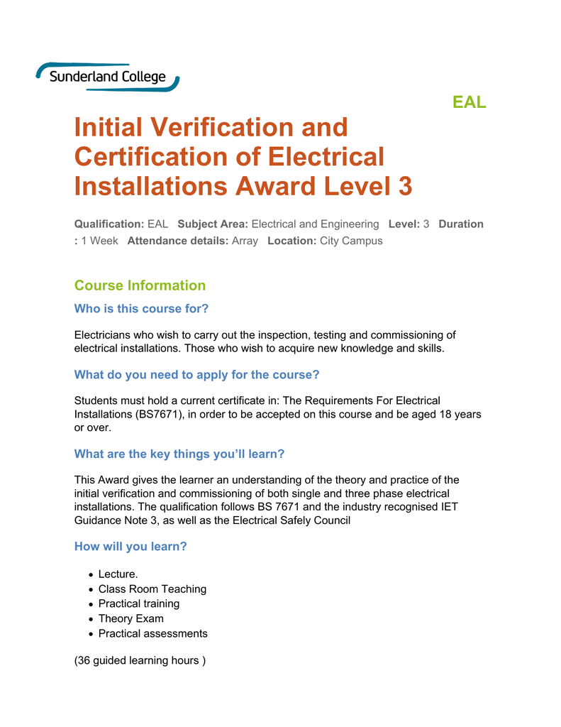 Initial Verification And Certification Of Electrical Installations Award