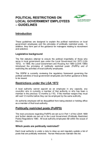 political restrictions on local government employees – guidelines