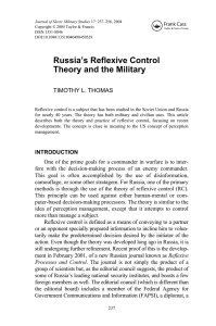 Russia`s Reflexive Control Theory and the Military