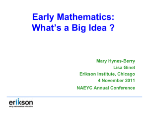 Early Mathematics: What`s a Big Idea