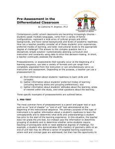 Pre-Assessment in the Differentiated Classroom