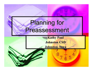 Planning for Preassessment