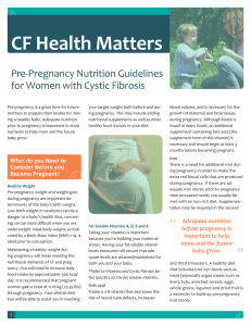 Pre-Pregnancy Nutrition Guidelines for Women with Cystic Fibrosis