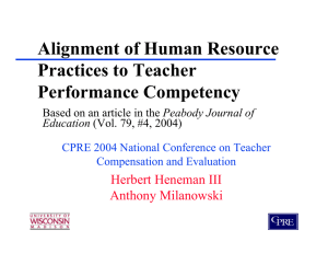 Alignment of Human Resource Practices to Teacher Performance